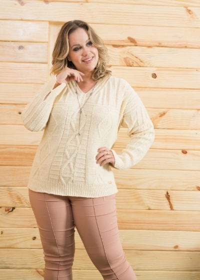 Tricot Plus Size decote V