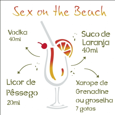 30,5X30,5 Simples - Drink Sex on the Beach - OPA2198