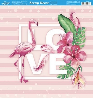 SD-711 - SCRAP DUPLA FACE - FLAMINGO LOVE TROPICAL / CHEVRON ROSA